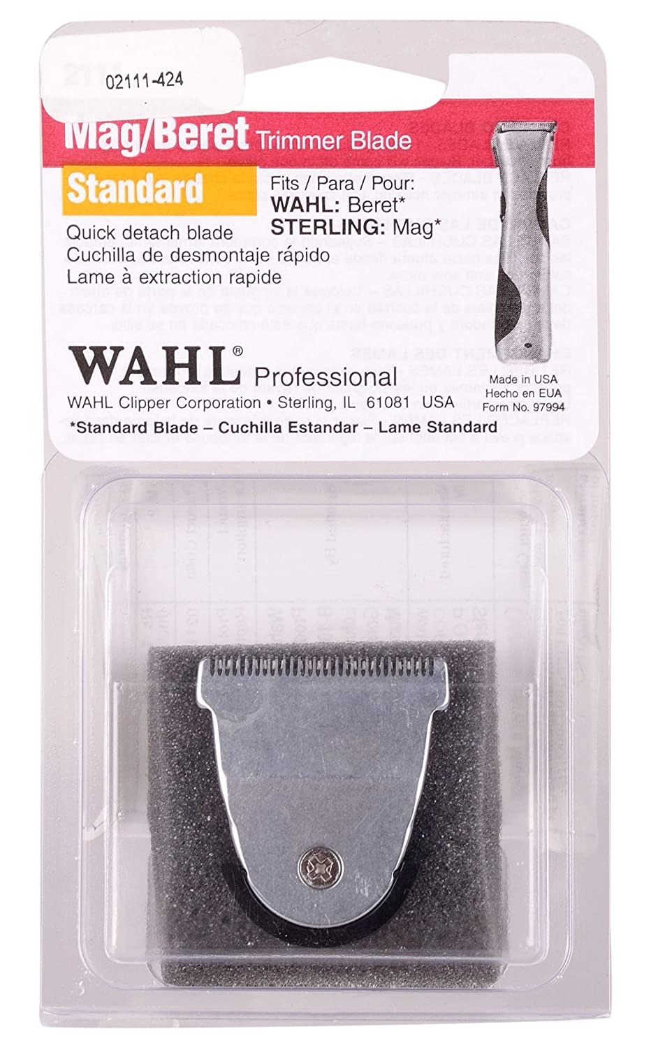 Wahl Professional Detachable Replacement Blade #2111 – Fits Echo, Beret, MAG and Sterling 4 Trimmer Models Wahl Professional Animal