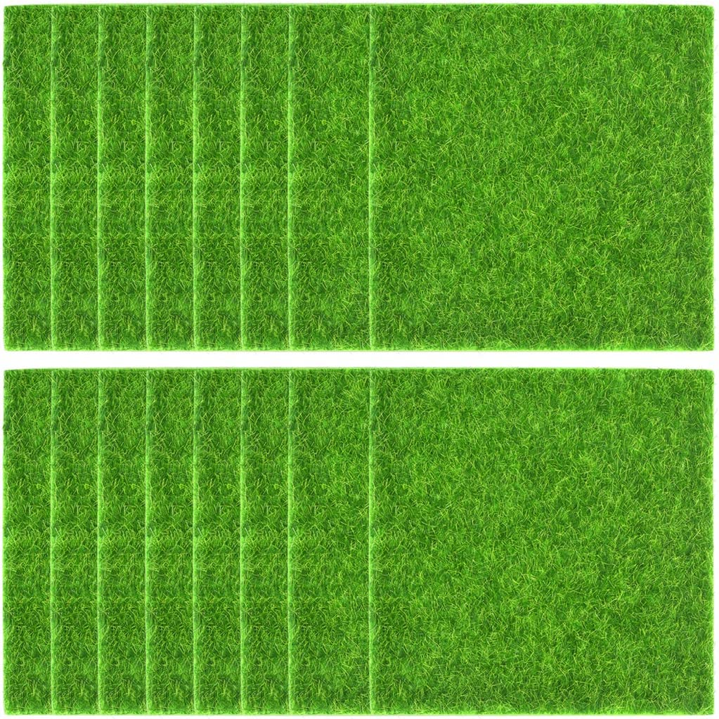 16 Pack Artificial Garden Grass, 6 x 6 Fairy Artificial Grass Life-Like Artificial Grass Garden DIY Grass Miniature Decor Lawn Ornament Garden, 6x6 Inch