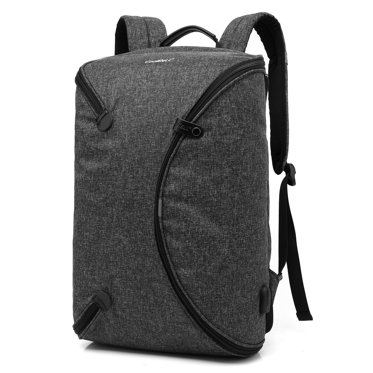 CoolBELL 15.6 Inch Laptop Backpack Bag With USB Charging Port/Personalized Foldable Travel Rucksack/Water-resistant Knapsack/Multi-functional Protective Day Pack For Men/Women / Teens (Black)