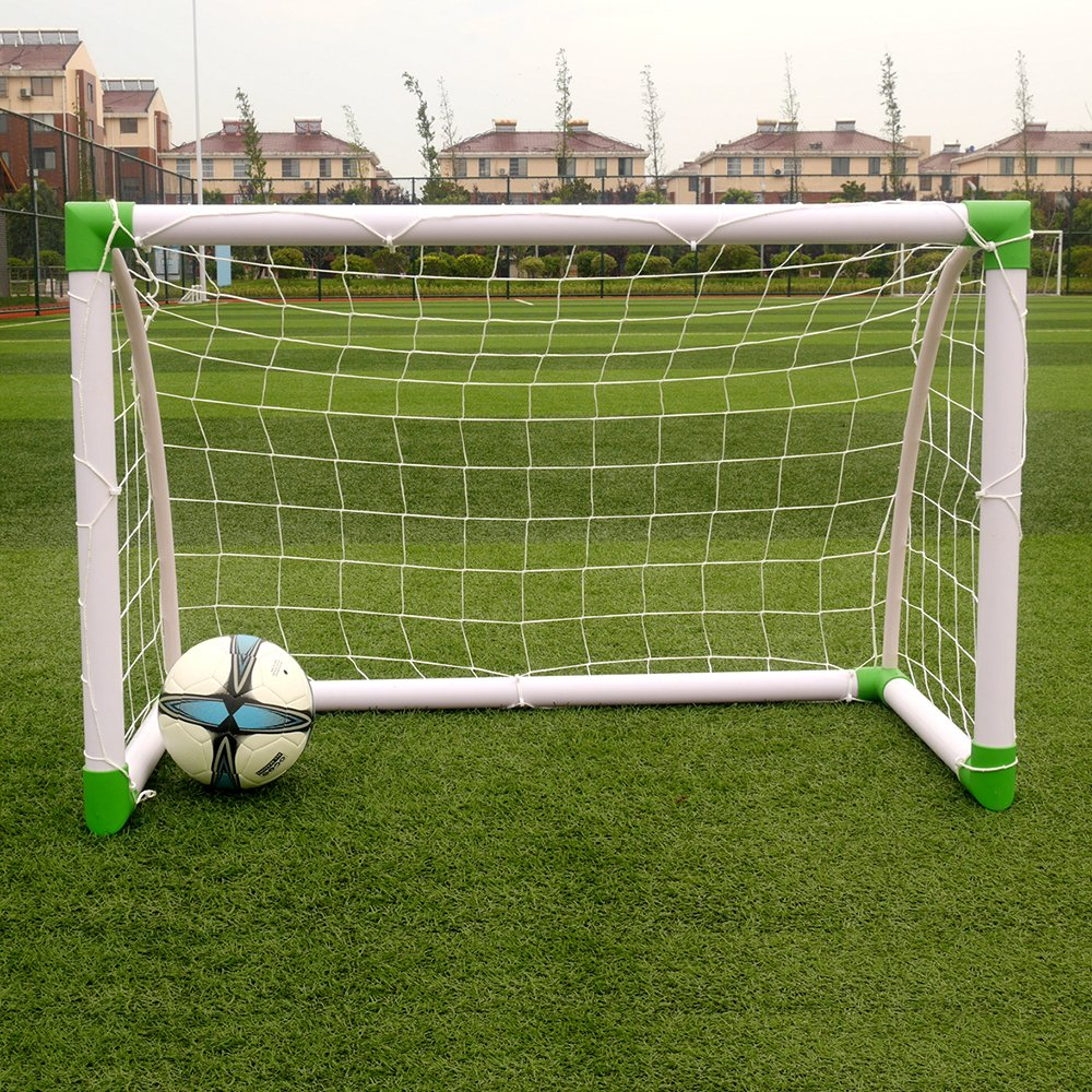 Volowoo 120 x 80 x 60cm Soccer Goal Training Set with Net Buckles Ground Nail Football Sports White & Green by Volowoo