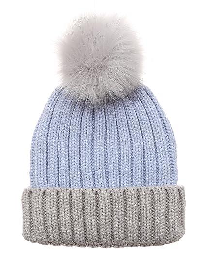 MIRMARU Women s Winter Two-Tone Rib Knitted Ski Cuff Beanie Hat With Pom Pom . 1c4f8320248