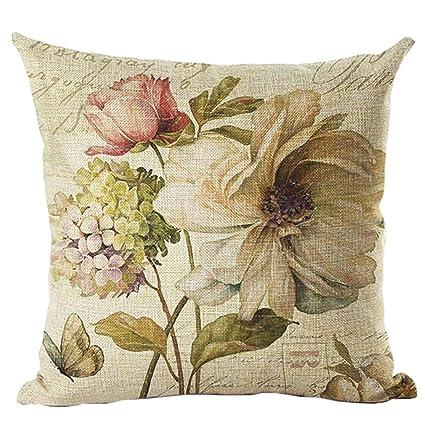 amazon com ruideng vintage flower print pattern cotton linen square