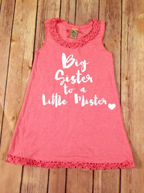 Big Sister to a Little Mister ruffle trimmed Shirt Dress,Announcement dress,Baby pink ruffle dress,Children's announcement dress