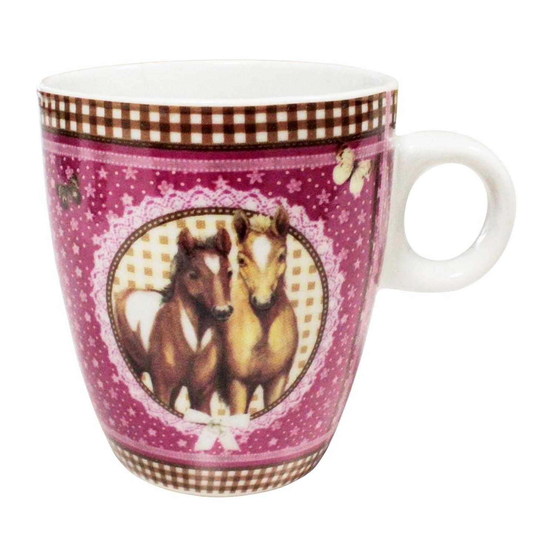 daaf7885ee6a0 Pferde Pony Tasse Porzellan Blumenmuster Mädchen Kindertasse Becher mit  Henkel ca. 200 ml Variante wählbar - Motiv ...