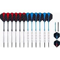 Engelhart – 12 dardos punta de acero (4 sets de dardos completos y accesorios) 21 g – 23 g – Niveles – ocio…
