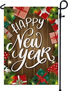 PAMBO Happy New Year Garden Flags for Outside & Yard | 12x18 Burlap Double Sided Garden Flag for Outdoor Decoration