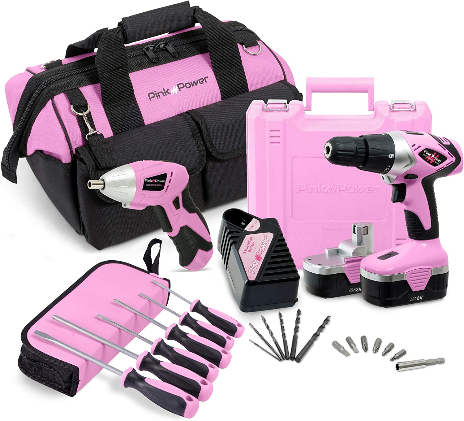 Pink Power 18V Cordless Drill Driver Electric Screwdriver Combo Kit with Tool Bag