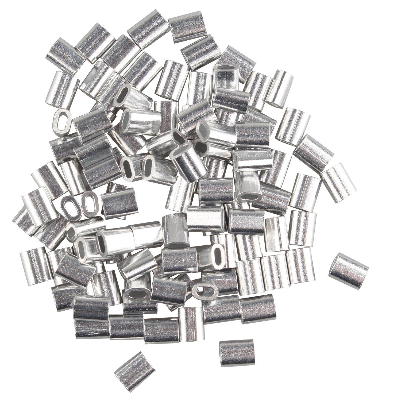 fusd 100 PCS 1,2 mm Kabel Draht Seil Aluminium Oval geformte Ärmel ...