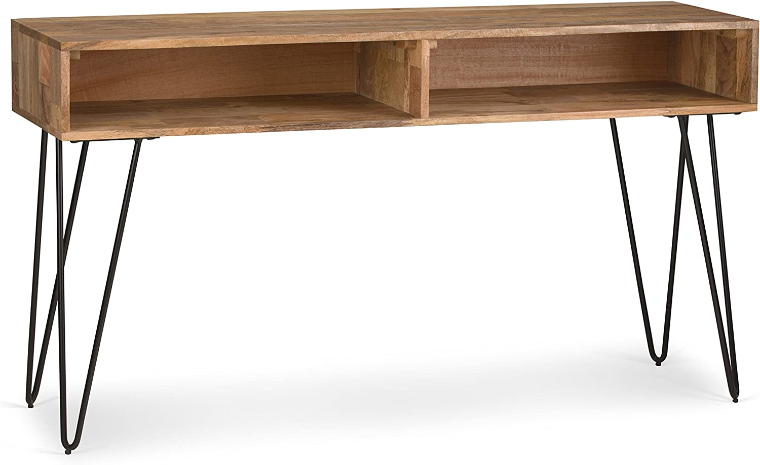 Amazon Com Simpli Home Hunter Solid Wood And Metal 55 Inch Wide Mid Century Modern Console Sofa Entryway Table In Natural With Storage 2 Shelves For The Living Room Entryway And Bedroom Furniture