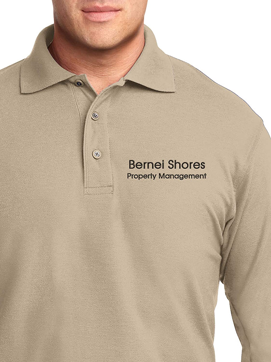 Custom Embroidered Mens Long Sleeve Polo Shirts - Personalized Embroidery Polo Tees