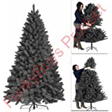 Premium 5ft,6ft,7ft Black Artificial Christmas Tree Pine Metal Stand Tips Spruce - 6FT (700 Tips)