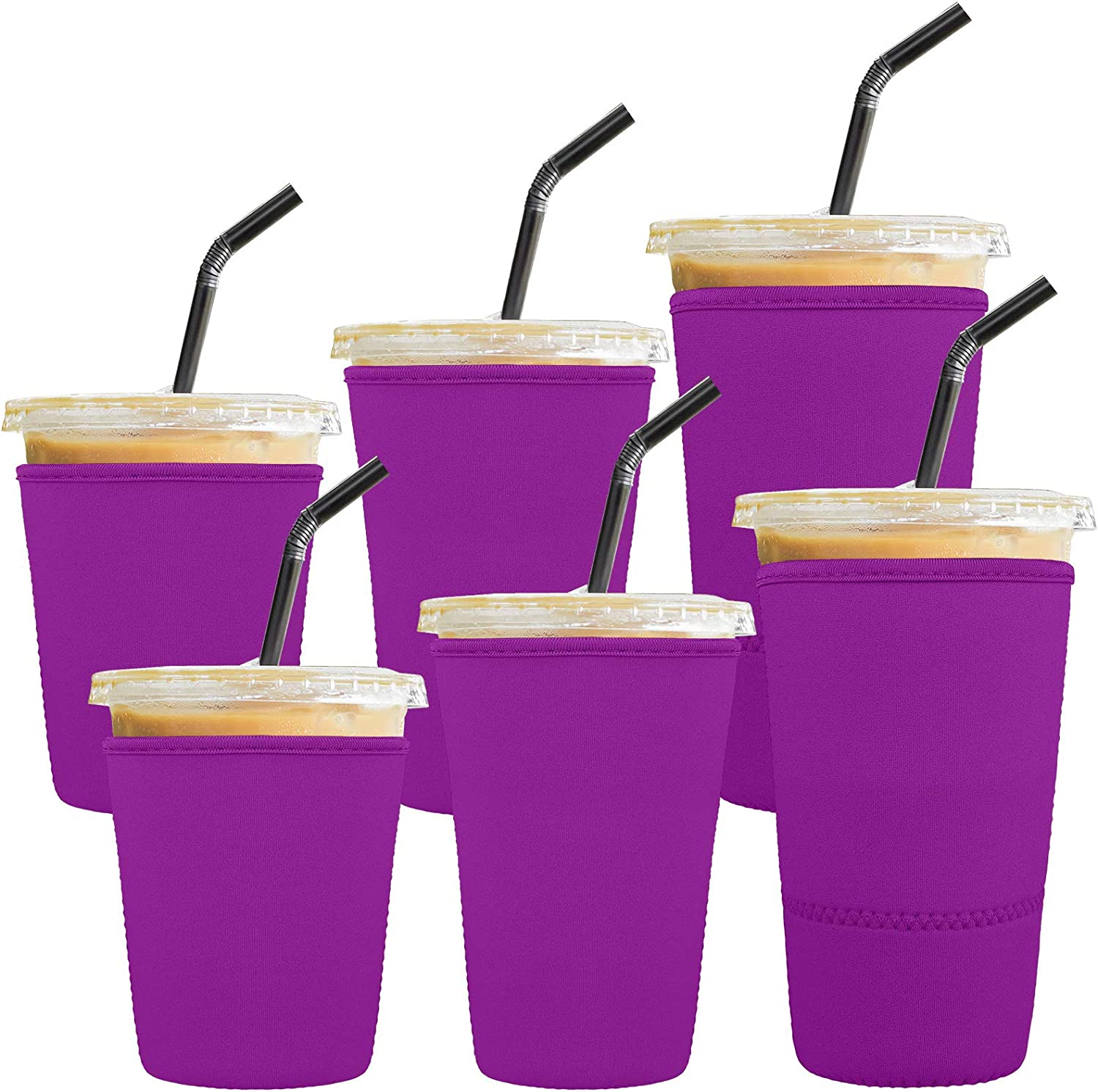 Ruisita 6 Pack Reusable Iced Coffee Sleeves Drink Insulator Sleeves Neoprene Cup Cover Drink Holders Cup Coolers for Cold Beverages, Coffee, Milktea, Purple