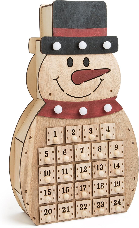 small foot Holz in Schneemann Form, 32 Schubladen mit ausgestanzten Ziffern  und kleinen Knäufen als Griff sowie Lichtquellen an Zylinder und Schal ...