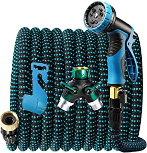 ACSTEP 2021 Upgrade Expandable Garden Hose Water Hose with 9-Function High-Pressure Spray Nozzle, Heavy Duty Flexible Hose, 3/6