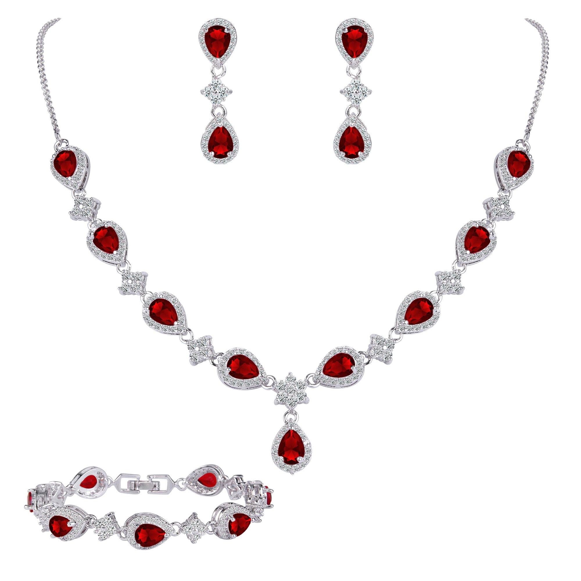 EleQueen Women's Silver-tone Cubic Zirconia Teardrop Flower Bridal V-Necklace Set Tennis Bracelet Dangle Earrings Ruby Color