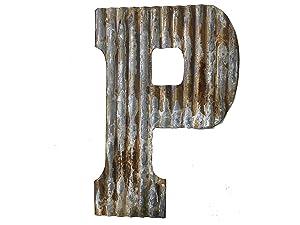 Farmhouse Rustic 24'' Wall Decor Corrugated Metal Letter P