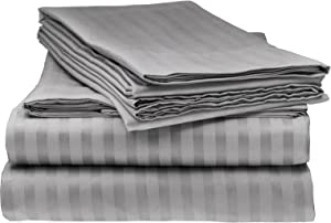 Bella kline Bedding 1800 Series 4 pc Bed Sheet Set with Pillowcases Hypoallergenic, 1 Soft Silky Luxurious Feel, Fitted and Flat Sheets Lifetime - Queen Size, Silver Grey