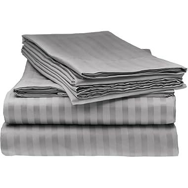 ELEGANTE 1800 Egyptian Comfort Striped 4pc Full Bed Sheet Set, Grey