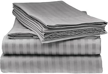 italian striped 4pc queen sheet set grey