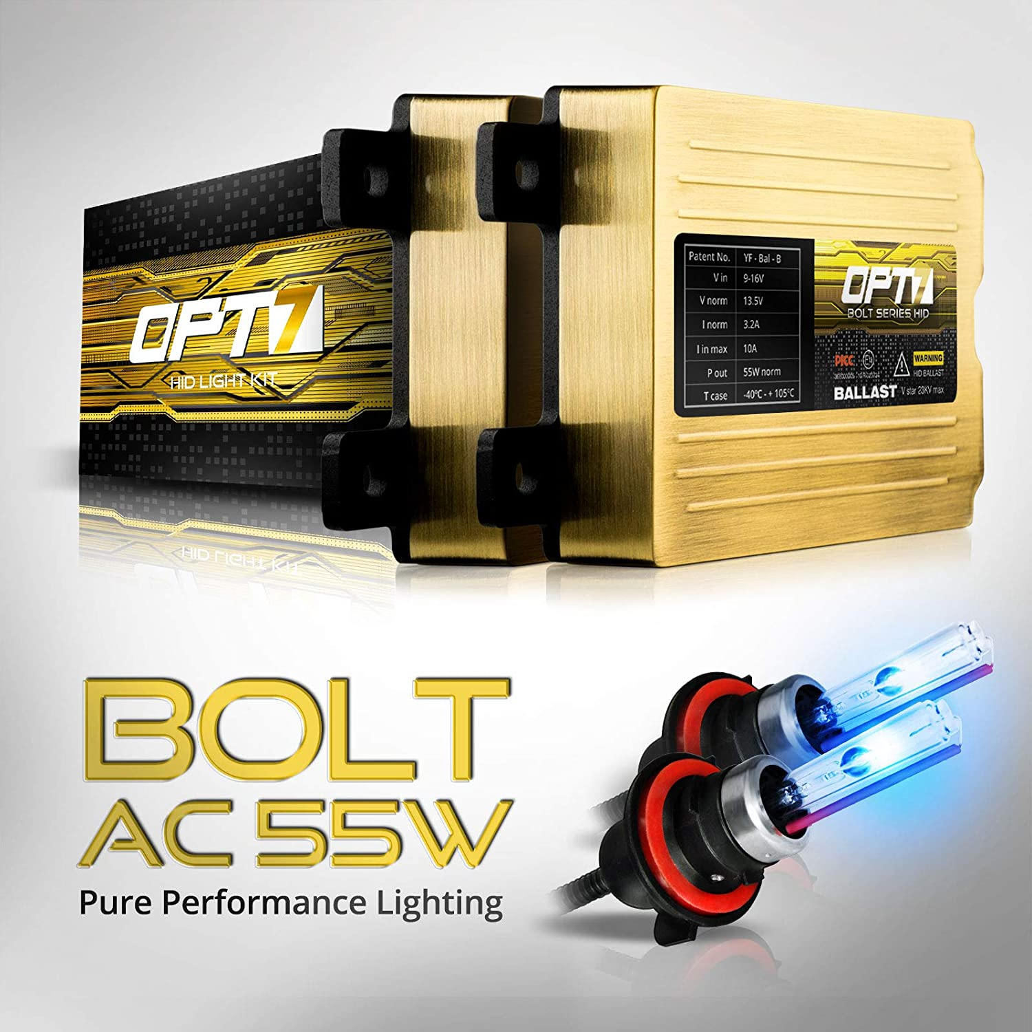 2 Yr Warranty 6x Longer Life All Bulb Sizes and Colors 10000K Deep Blue Light 5x Brighter OPT7 Bolt AC 55w H13 Bi-Xenon HID Kit