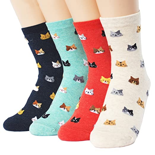 9f24017dbe Amazon.com: Evei Women's Mini Cats Series Socks 4paris(4color)=1pack ...