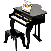 ts-ideen Children's piano Black with 30 keys with color plate and songbook