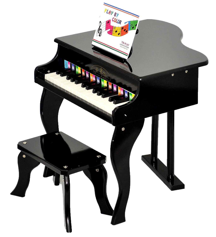 ts-ideen - Piano infantil (para ni?os de 3 a?os, con 30 teclas, con colores y m?todo con canciones), color negro 5238