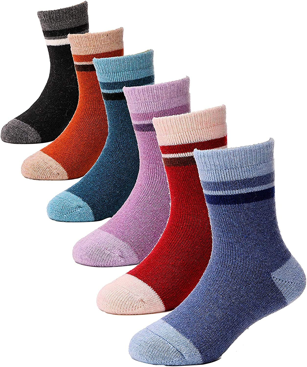 EBMORE Kids Girls Boys Wool Socks Thick Warm Thermal for Kid Child Toddlers Cotton Winter Crew Socks 6 Pairs