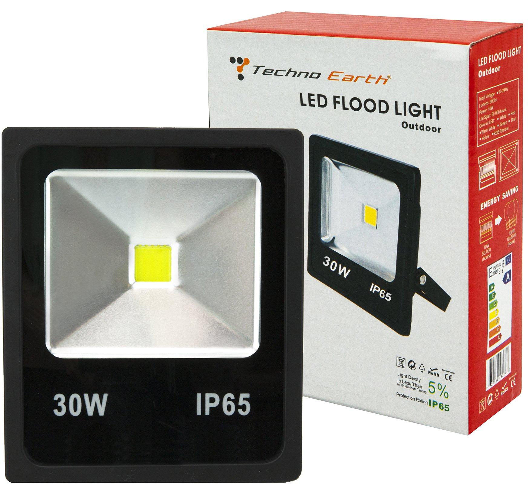 Techno Earth F30K 90-240V 120-Degree Beam Angle Landscape Outdoor Waterproof 30W LED Flood Light Lamp, Cool White
