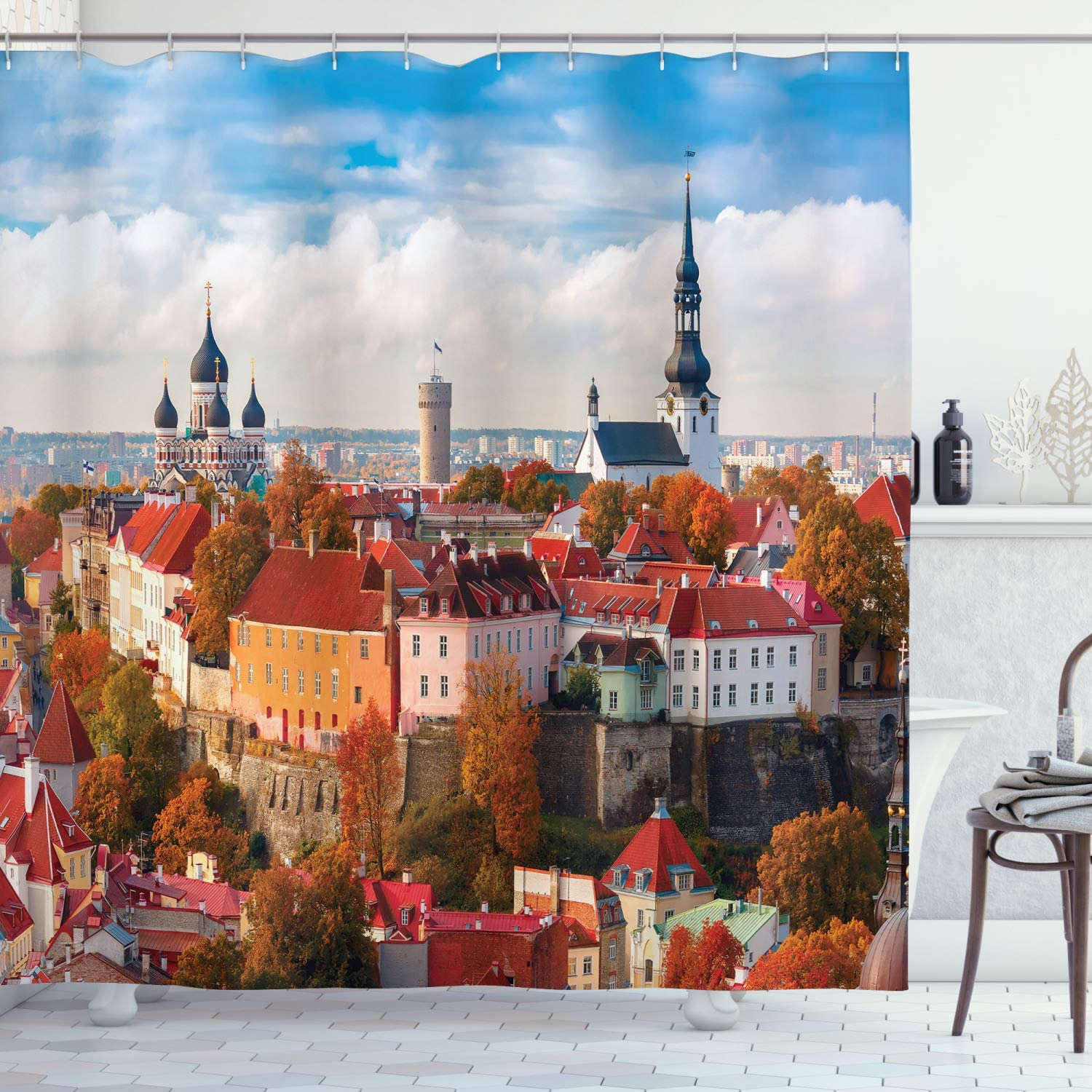 Ambesonne Wanderlust Decor Collection, Toompea Hill With Tower Pikk Hermann Toomkirik Urban City Photography Print, Polyester Fabric Bathroom Shower Curtain, 84 Inches Extra Long, Blue Mustard