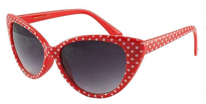 Gafas de sol de ojo de gato de Retrouv®, diseño de lunares, para mujer, modelo Super Cat