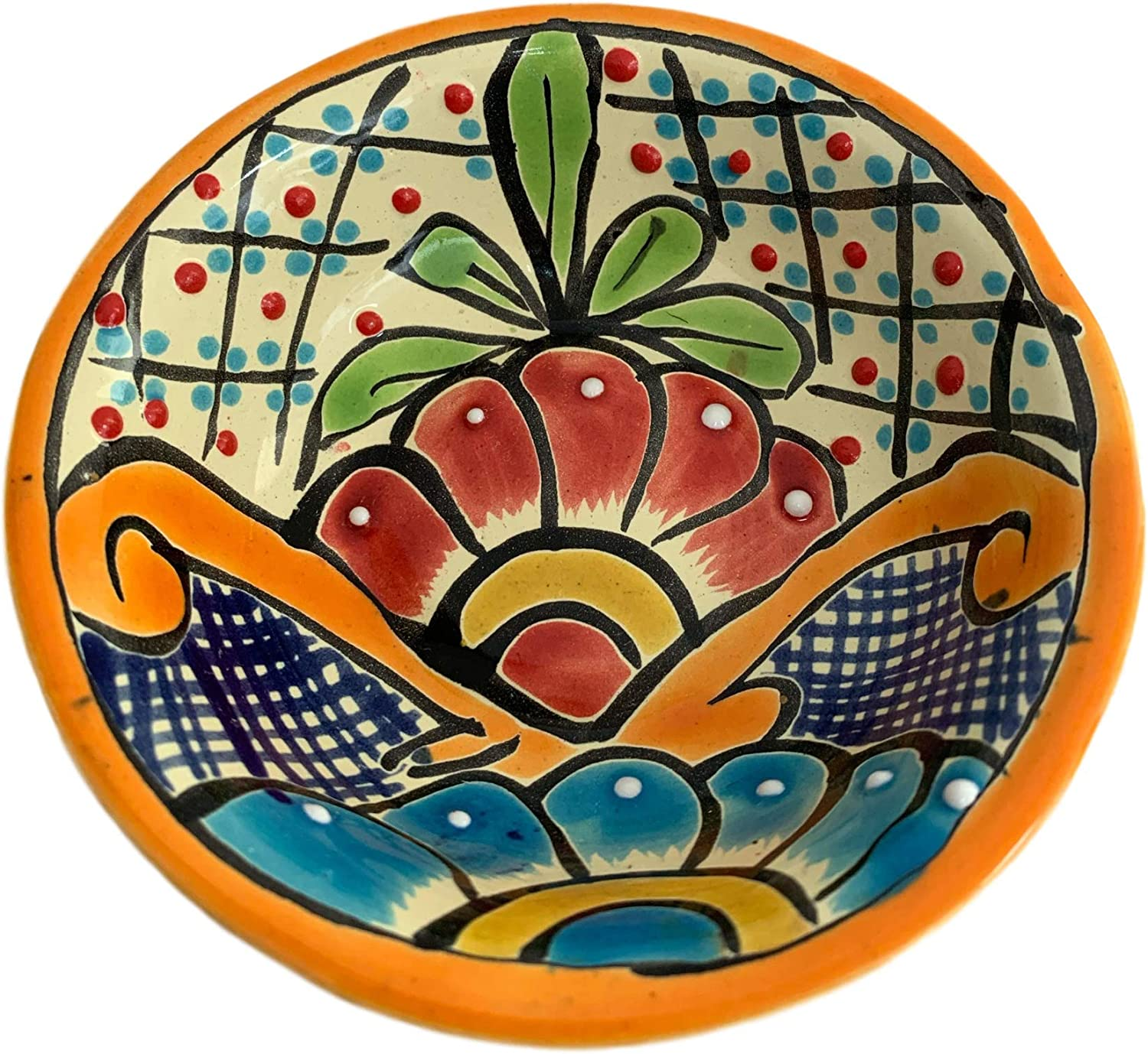 Colorful Decorative Mexican Style Fiesta Bowl - Hand-Made and Hand Painted In Mexico - 5 Inches - 12 cm Tazon Color