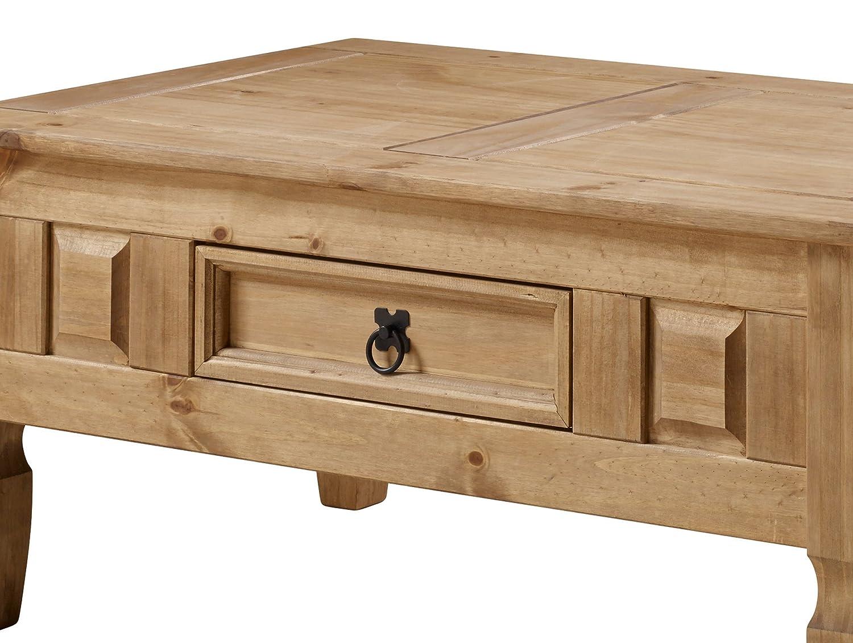 design rustico Tavolino da caff/è in pino messicano con cassetto Corona