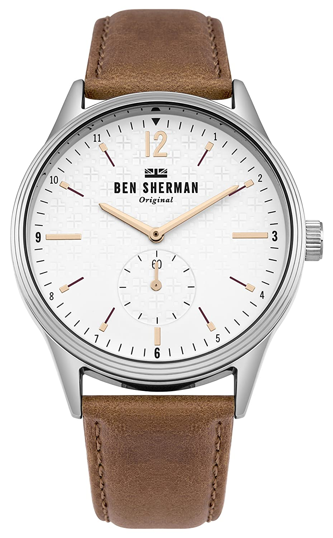 Ben Armband Sherman Datum Uhr Herren Klassisch Quarz Leder Mit qzUpSMVG