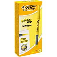 BIC 952250 Brite Liner Grip Highlighter Pens - Yellow Colour, Box of 12 Highlighters