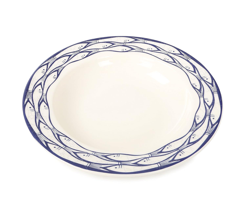Jersey Pottery ciotola con figure di sardine, Ceramica, Blue/White, 13.5 x 13.5 x 23 cm SR6