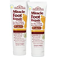 Miracle Foot Repair Cream 4 oz - 2 Pack with 60% Pure Organic Aloe Vera Softens Dry Cracked Feet.