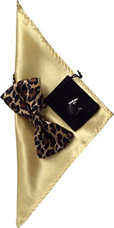 Leopard Printed Bow Tie and Handkerchief Set