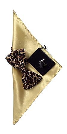3c9c22dea1f9 Mens Bow Tie Handkerchief and cuff links set Gold Leopard print No7: Amazon. co.uk: Clothing