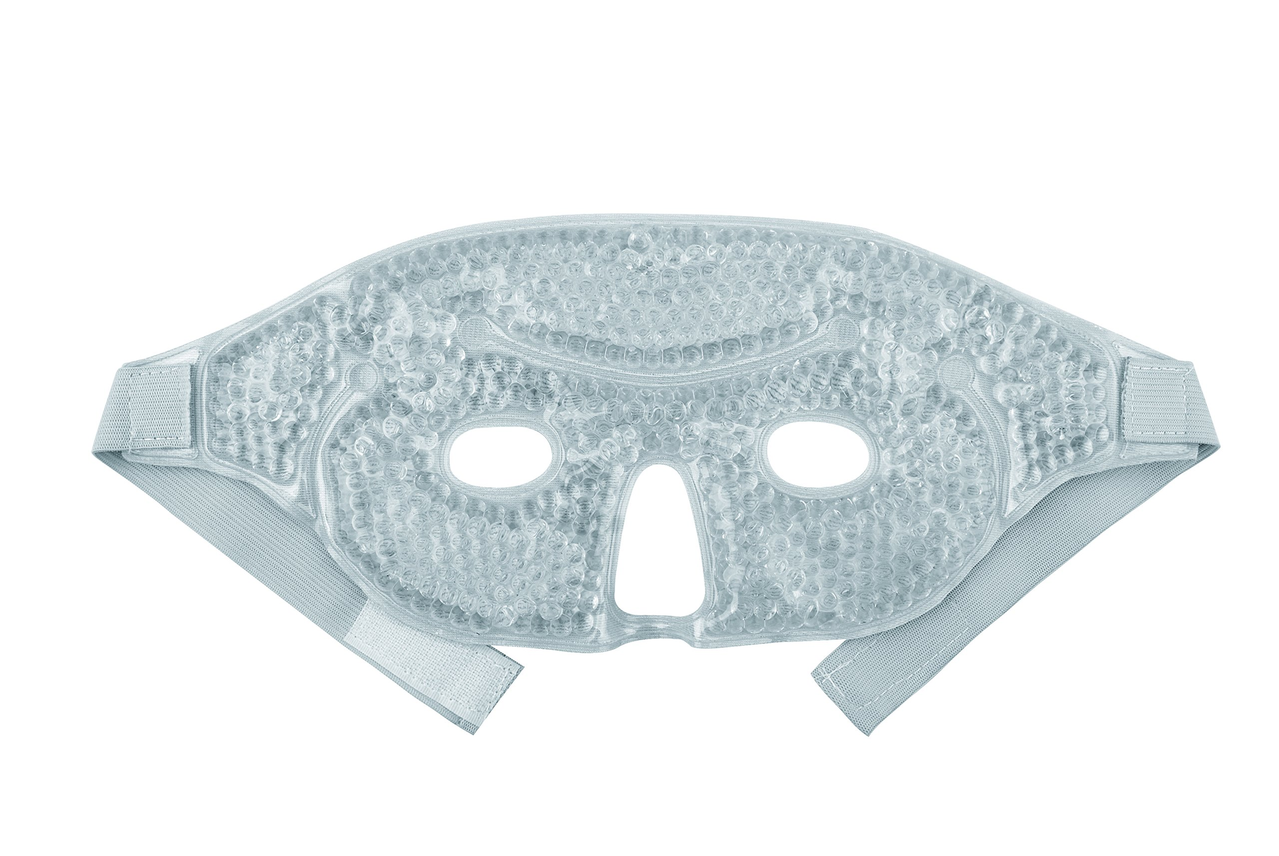 Hot and Cold Therapy Gel Bead Facial Eye Mask by FOMI Care | Ice Mask for Migraine Headache, Stress Relief | Reduces Eyes Puffiness, Dark Circles | Fabric Back | Freezable, Microwavable (Gray) by FOMI (Image #2)