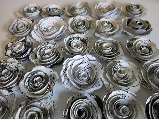 Amazon black and white comic book paper flowers set of 24 15 black and white comic book paper flowers set of 24 15quot small roses mightylinksfo