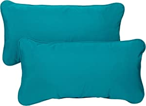 Mozaic AZPS2860 Indoor Outdoor Sunbrella Lumbar Pillows with Corded Edges, Set of 2, 12 x 24 inches, Canvas Teal Green