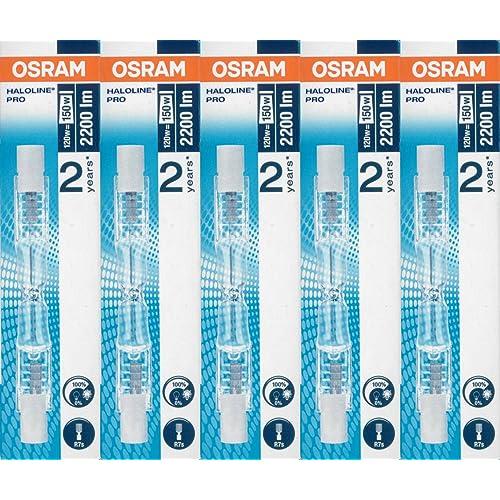 Osram 64695 - Bombillas halógenas alargadas de bajo consumo, 120 W, 230 V, casquillo R7s, 5 unidades
