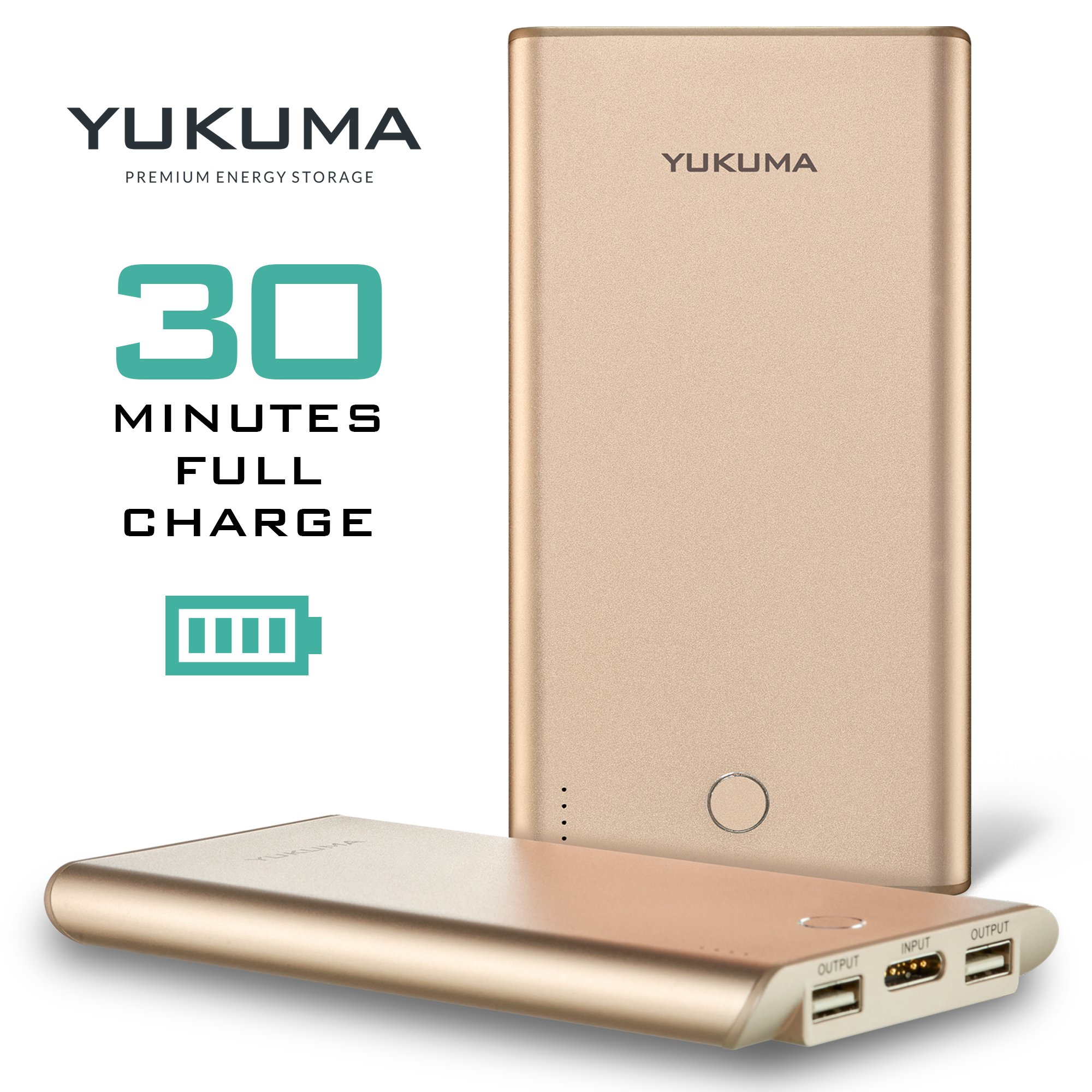 Yukuma Power Bank - World's Fastest Recharge - 30 Minutes - 10000 mAH - / Portable Charger External Batteries For Phones, Tablets, Cameras [German Engineered] (FCC, CE Certified) - Champagne Gold by Yukuma