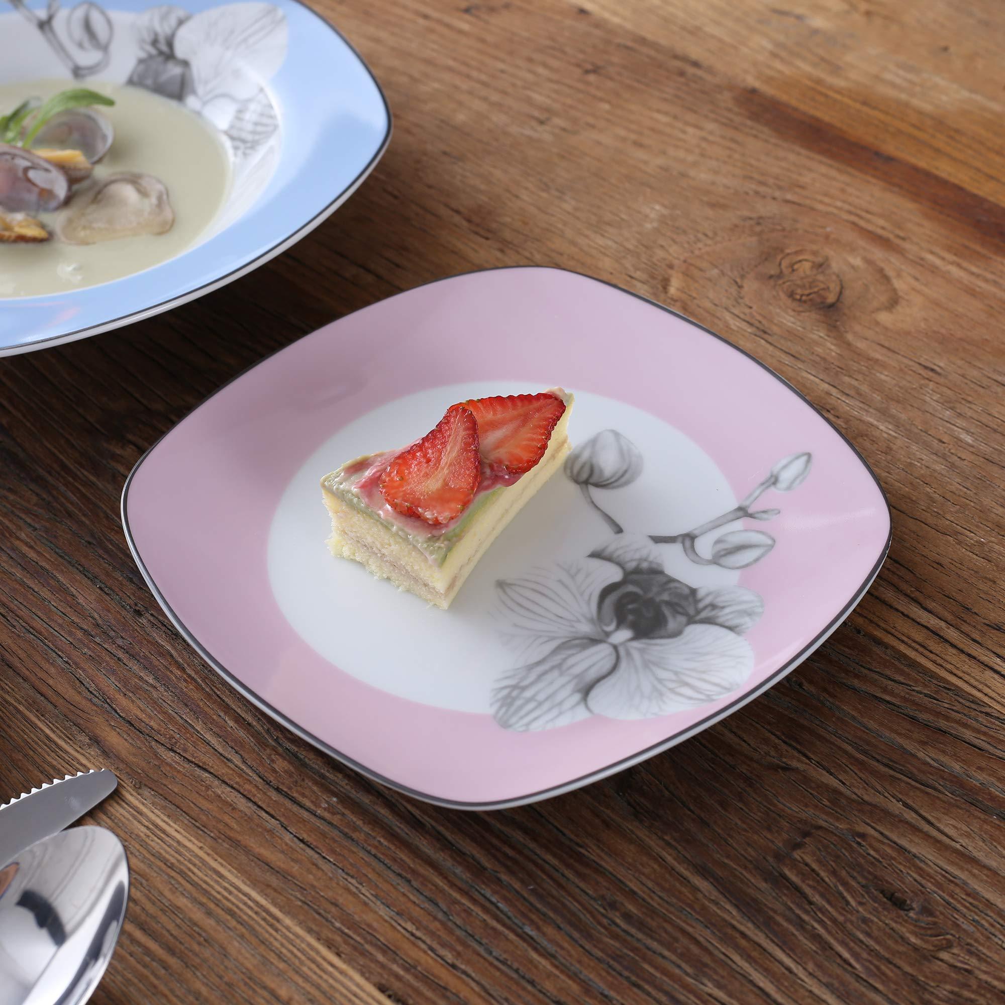 VEWEET 4-Piece Porcelain Dessert Plate Set, Durable Ivory White Bread 7-1/2 Inch Salad Plates DEBBIE Series by VEWEET (Image #2)