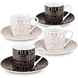 Konitz 100-Percent Coffee, Assorted Espresso Cups And Saucers (Set of 4), White