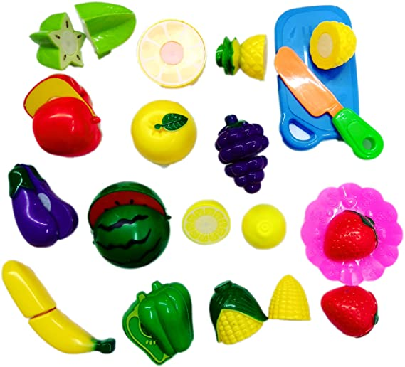 Blossom Realistic Sliceable Fruits and Vegetables Cutting Play Kitchen Set Toy (15 pcs Set) with Various Fruits,Vegetables,Knife,Plate and Cutting Board for Kids,Multi Color. Play Food at amazon