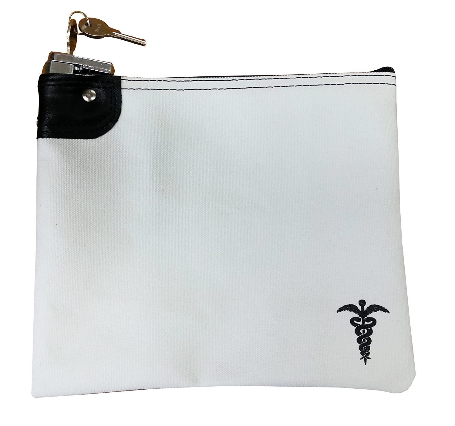 Medication Bag Heavy Canvas Standard Keyed Lock Storage Case White