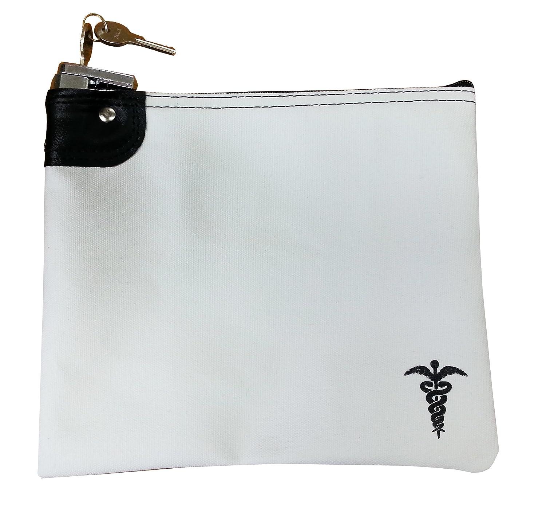 Medication Bag Heavy Canvas Standard Keyed Lock Storage Case White
