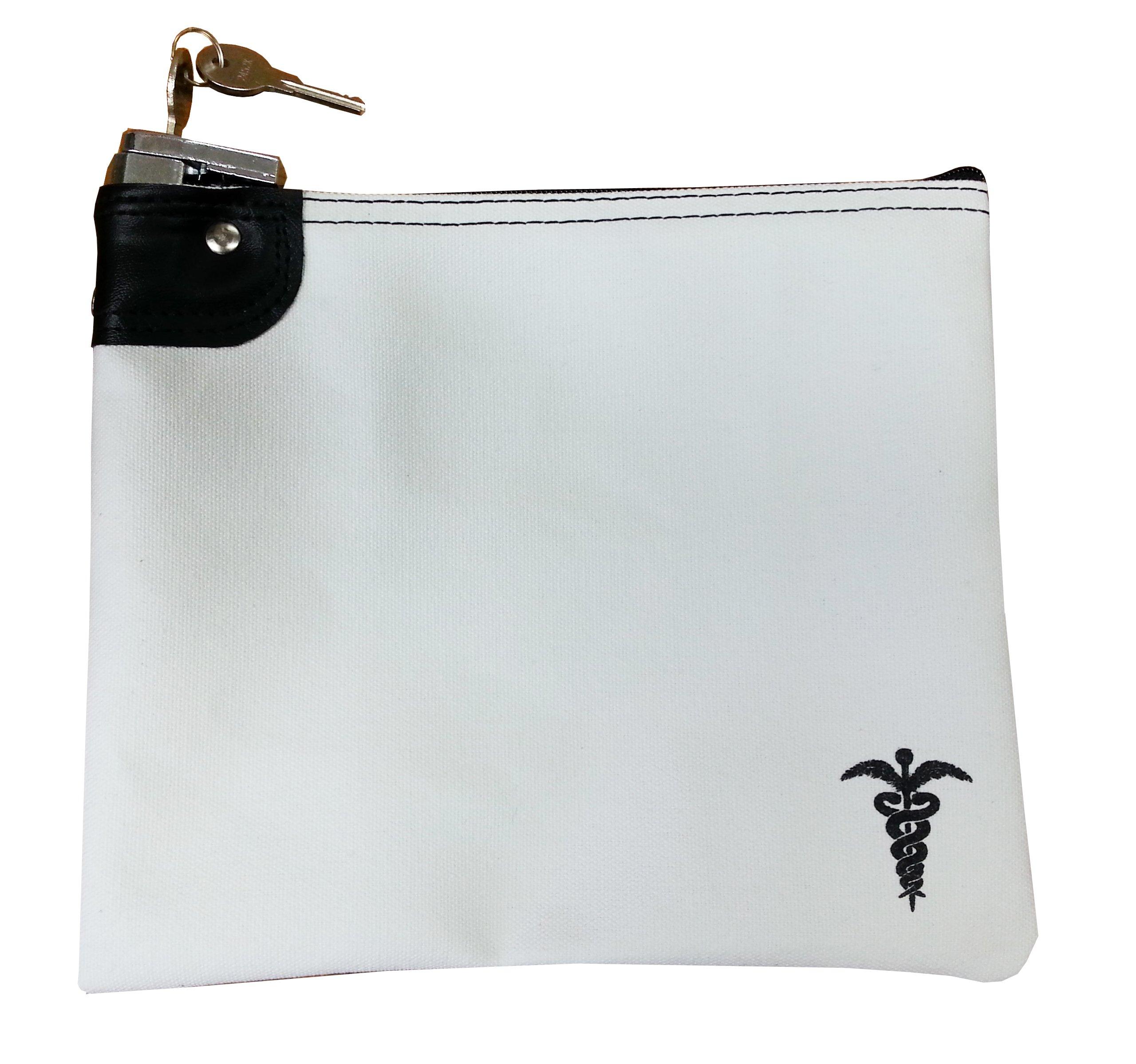 Medication Bag Heavy Canvas Standard Keyed Lock Storage Case White by Cardinal Bag Supplies